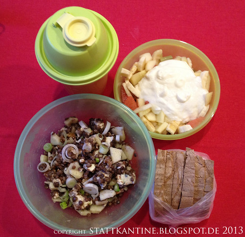 Stattkantine 21. März 2013 - Linsensalat, Joghurt mit Obst, Orangensaft