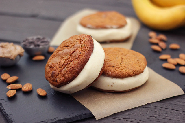 Grain-free Chocolate Chip Cookie Banana Ice Cream Sandwiches - Gluten-free + Dairy-free