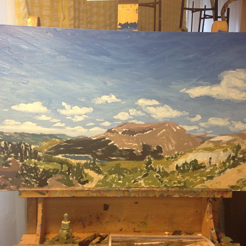 #painting #progress #colorado #rockymountain #landscape- sky is in!