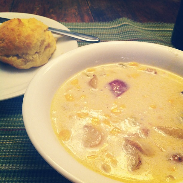 Corn chowdah and biscuits. #fromourkitchen
