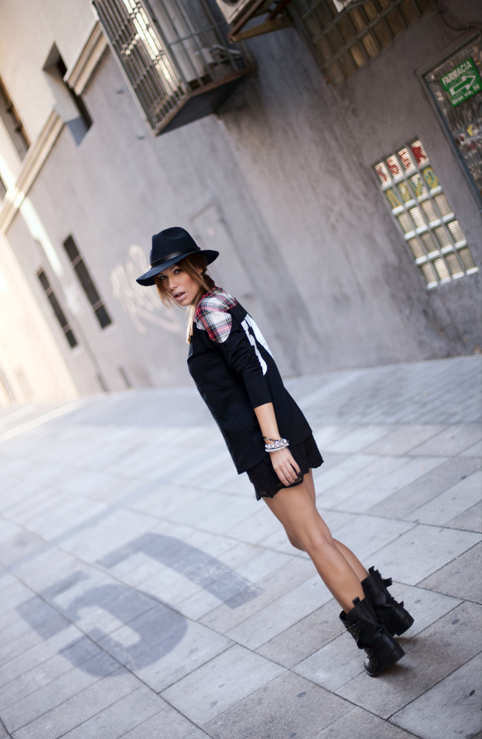 street style barbara crespo front row shop top hat outfit madrid