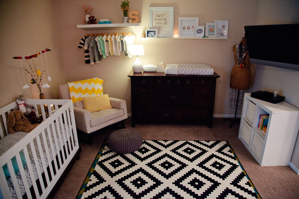 Nursery nook in master bedroom home tour fresh mommy blog for Master bedroom with attached nursery
