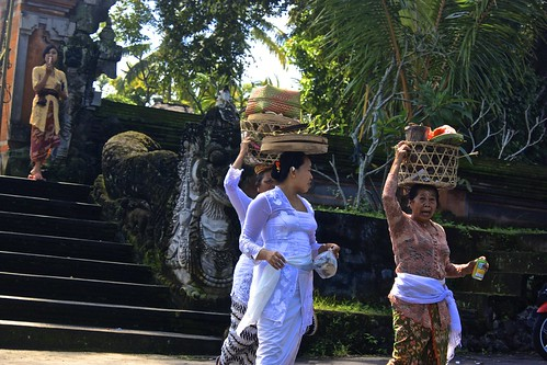 returning from an event at a temple in Ubud