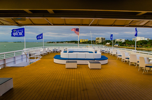 Relaxing on the aft area of the Yacht StarShip Dining Cruise at Clearwater Harbor Marina