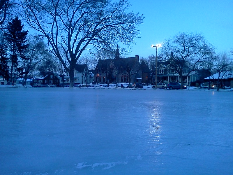 Outdoor skating rink, Commons Park. December, 2013