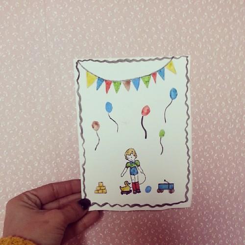 ★ nana est inviter à un annif cet aprem, une petite carte pour le copain finis ★ #vintage #carte #ourlittlefamily #france