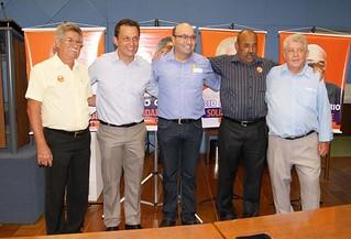 Ao centro Dario Saadi, ladeado pelos vereadores que compõem a bancada do Solidariedade na Câmara Municipal de Campinas, vereadores Zé Carlos, Tico Costa, Jairson Canário e Cid Ferreira