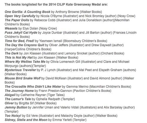 2014 Kate Greenaway Medal longlist