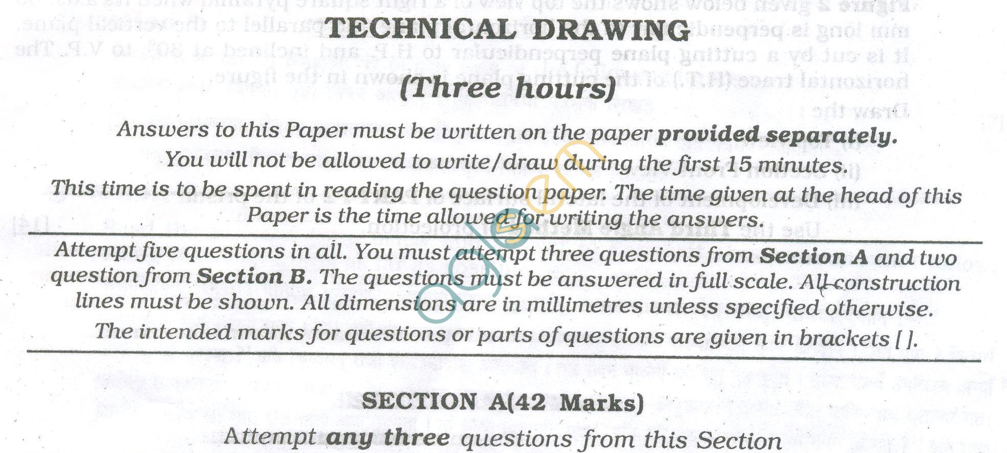 ICSE Question Papers 2013 for Class 10 - Technical Drawing