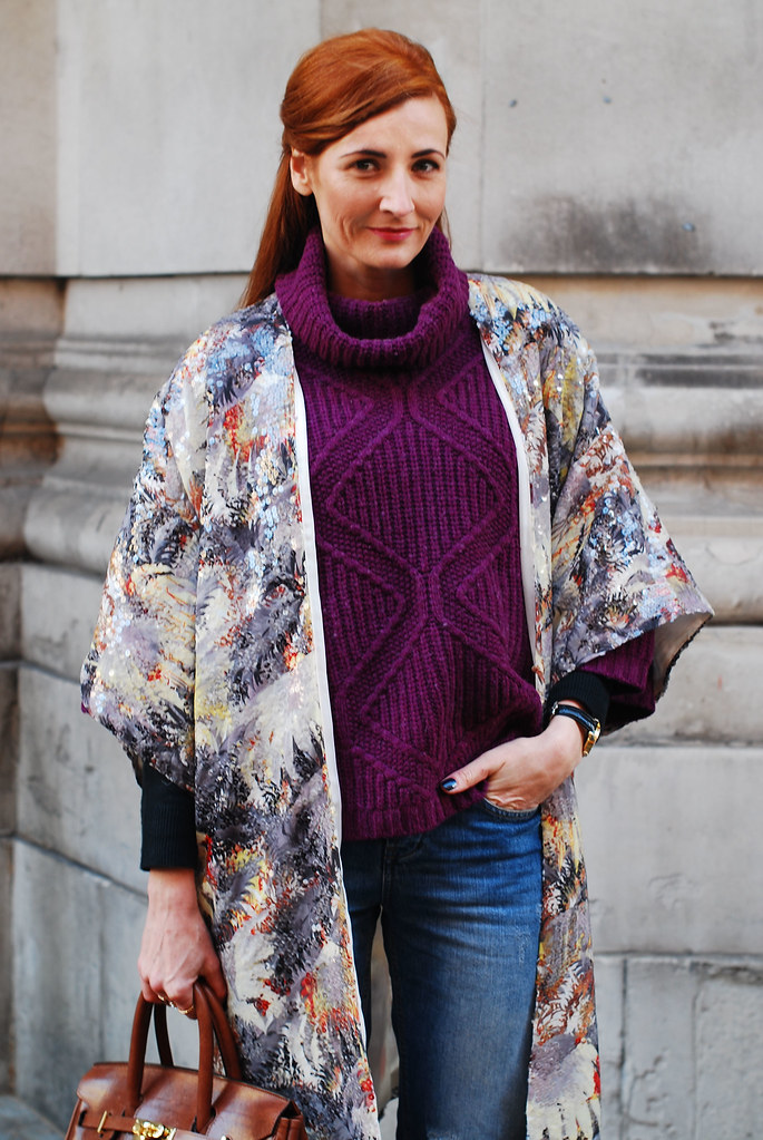 Sequinned kimono, purple cowl neck sweater & jeans