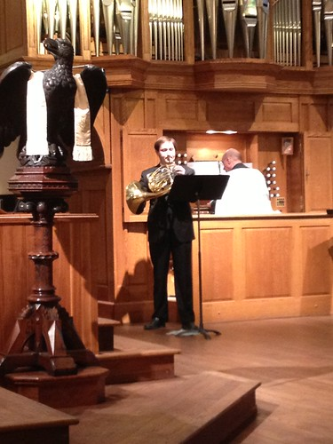 <p>Brad Gemeinhardt, member of the Metropolitan Opera Orchestra, performs a commissioned work for French Horn and organ with Trinity Organist/Choirmaster John Deaver</p>
