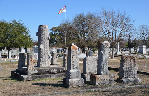 Large group of Woodmen of the World grave monuments