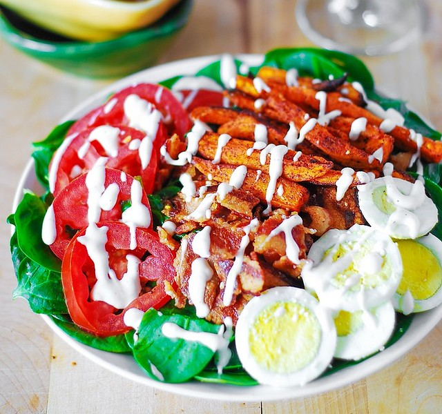 Sweet potato fry and BLT salad