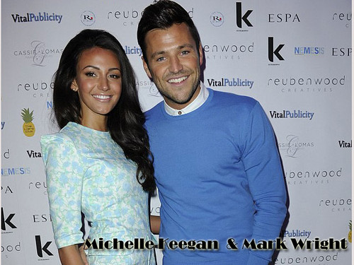 Michelle Keegan in mint & floral playsuit & Mark Wright in a blue sweater