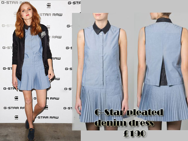 G-Star-pleated-denim-dress, pleated dress, black bomber jacket, G-Star pleated denim dress, pleated denim dress, Pleated denim dress Trend