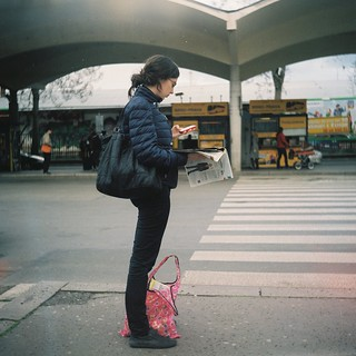 Lubitel 2 - Girl at Bus Station