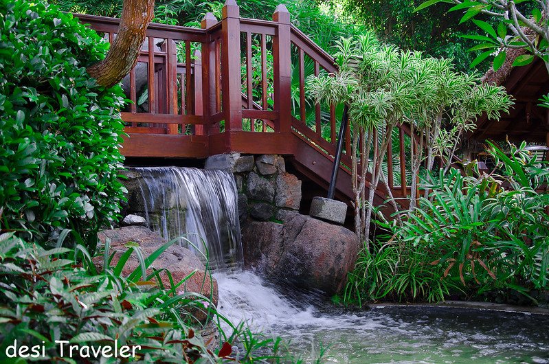 wooden bridge on tropical waterfall Paradise Island