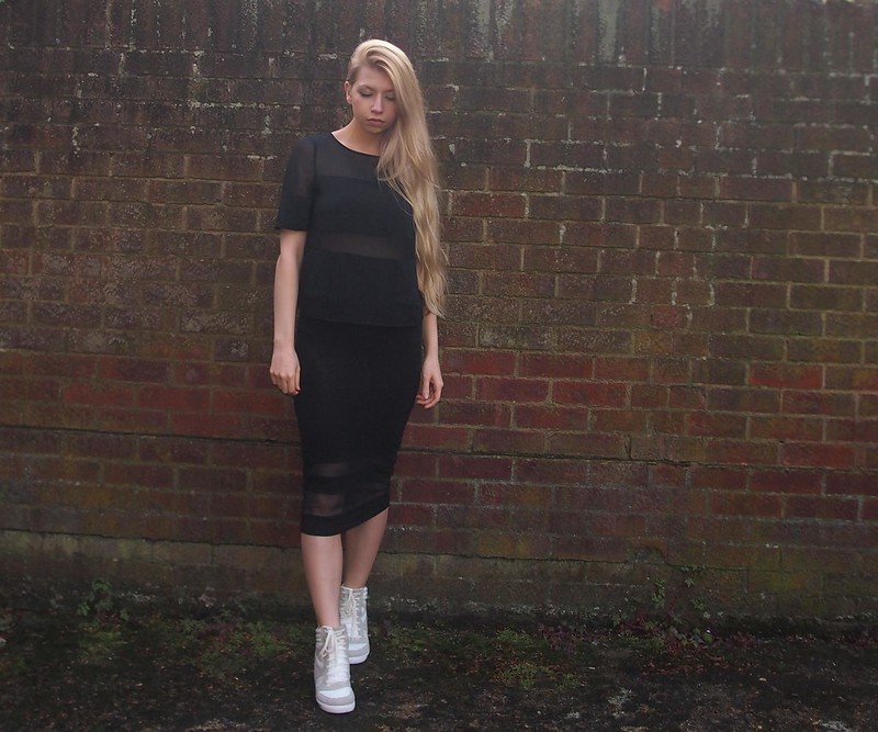 Sam Muses, UK Fashion Blog, London Style Blogger, Sheer Panel, Mesh, George, ASDA, G21, Matalan, Pencil, Midi Skirt, T-Shirt, Sports Luxe, Wedge Hi-Tops, How to Wear, SS14