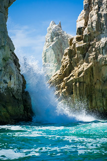 Image of Playa del Amor near Los Cabos. wedding vacation beach rock mexico paradise boda samsung marriage wave bajacaliforniasur cabosanlucas seaofcortez loscabos wavescrashing samsungcamera pueblobonitarose nx30 samsungnx30 imagelogger ditchthedslr