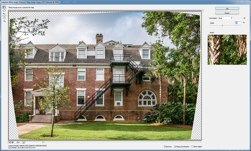 Image of a screenshot using the Adaptive Wide Angle Filter