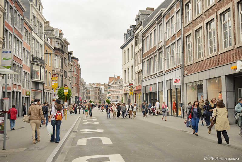 shopping street in Namur Belgium