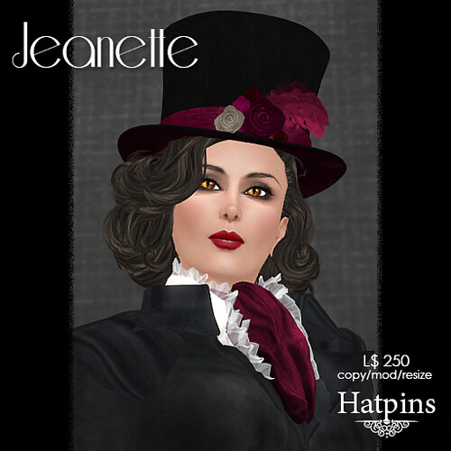 Hatpins - Jeanette Top Hat - Burgundy