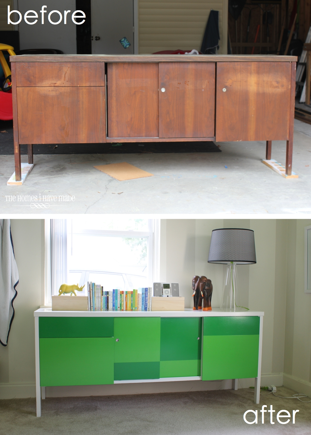 Green Color Block Credenza-017