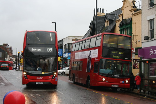 Abellio London 2495 (Route 109) and Arriva London DLA388 (Route 250), West Croydon