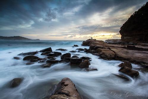 beach rock sunrise rocks surfer sydney wave surfing avoca
