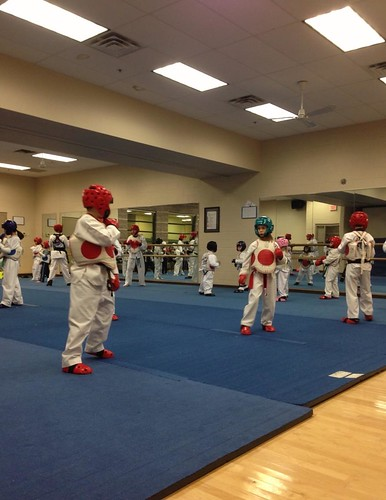 Taekwondo sparring practice
