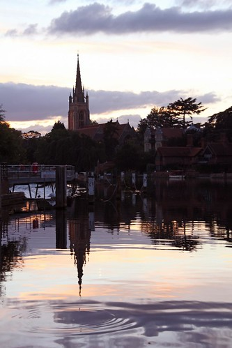 sunset england reflection church thames dripping marlow