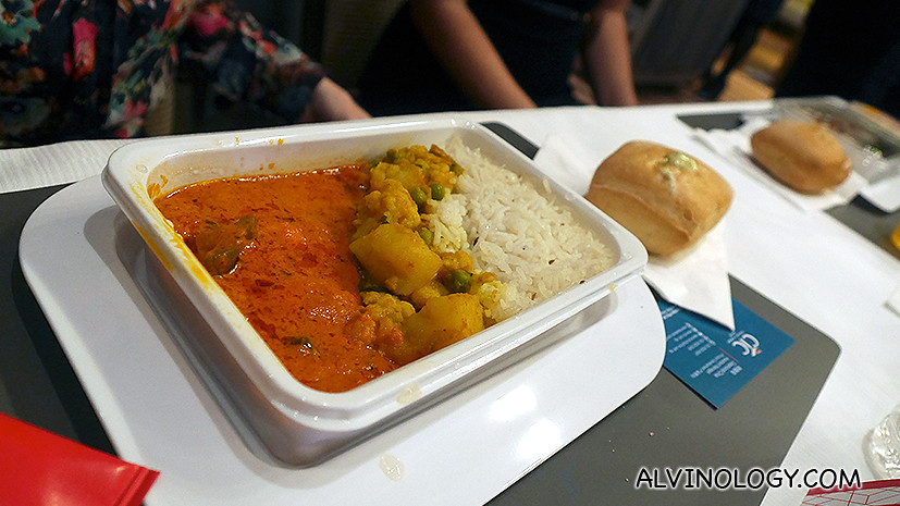 Paneer butter masala, curried cauliflower, potato and peas with steamed rice (vegetarian option)