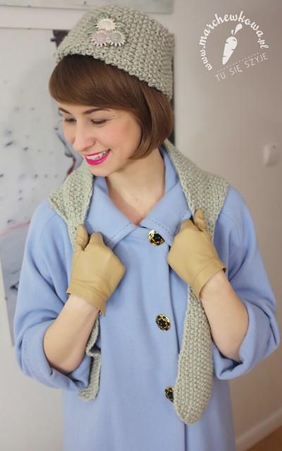 50s/60s knitted hat and scarf, retro, vintage, płaszcz, szycie, krawiectwo, wełna, toczek, szalik, komplet, dzierganie