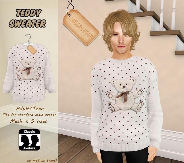::Puddi-Puddi:: Adult/Teen Male Teddy Sweater