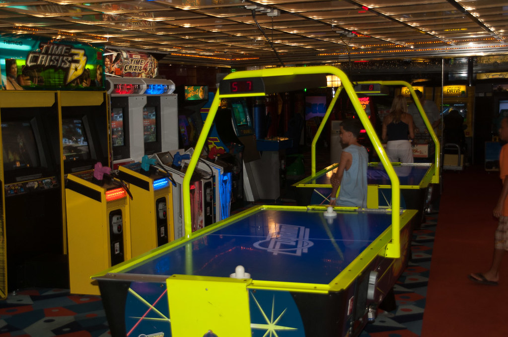 Air hockey tables on cruise ship
