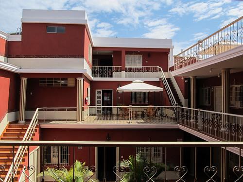 Trujillo: notre hôtel colonial vu de notre chambre