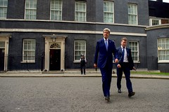 U.S. Secretary of State John Kerry, accompanied by U.S. Ambassador to the United Kingdom Matthew Barzun, departs from No. 10 Downing Street in London, U.K., on June 27, 2016, after speaking privately with British Prime Minister David Cameron following another meeting with the Secretary's counterpart, British Foreign Secretary Philip Hammond, in the aftermath of last week's 'Brexit' vote by the British people. [State Department photo/ Public Domain]