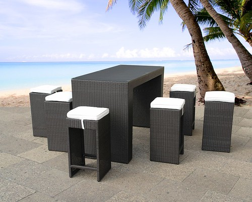 modern design outdoor bar set resin wicker