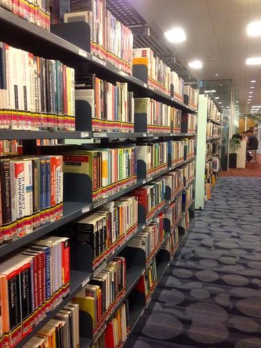 bookshelves at library
