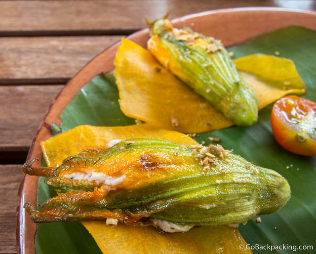Ricotta Stuffed Squash-Blossoms with honey and epazote