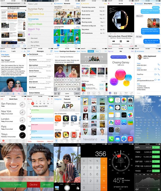 iOS 6 iOS 7 Comparison iOS 7 grid
