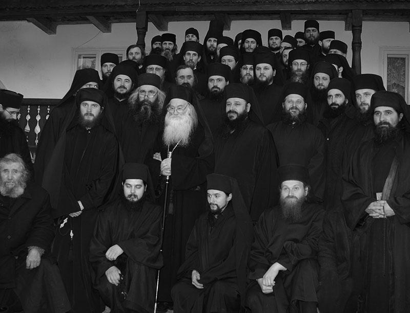 Părintele Justin cu obştea Mănăstirii Petru Vodă, 2009