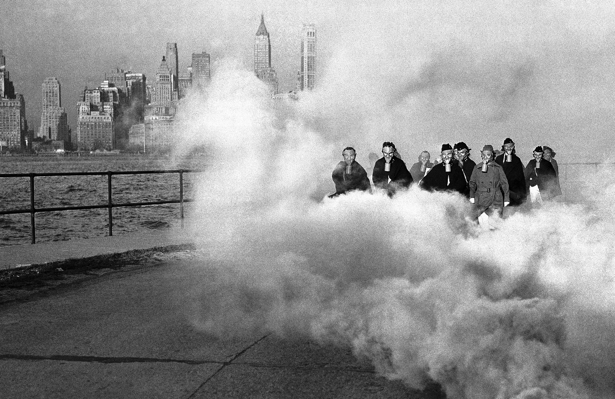 27th November 1941: U.S. Army Nurses perform gas mask drill in New York City