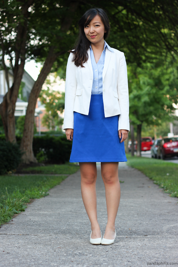 white blazer light blue button down cobalt blue skirt white pumps outfit