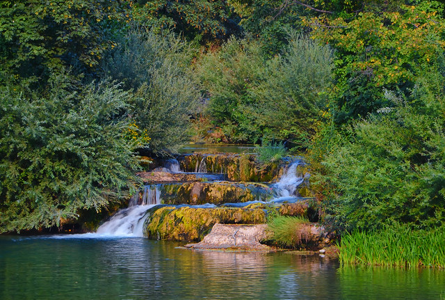 Waterfalls in green nature of Korana river, village of Rastoke,Croatia