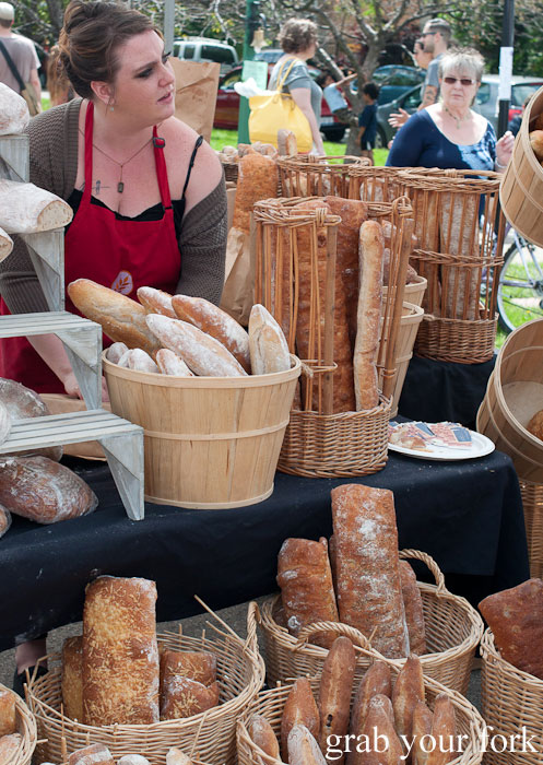 Fresh baked breads Logan Square Farmers Market greenmarket producers Chicago Illinois