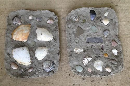 Seashell garden art stones pre-acrylic coating