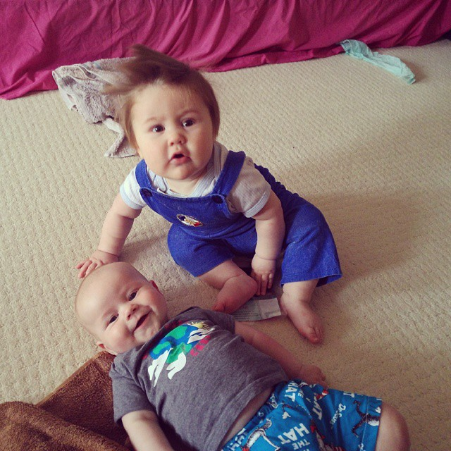 #babyjagoe and his especially cute cousin Moby. Moby thinks he's delicious and has tried to devour him on several occasions.