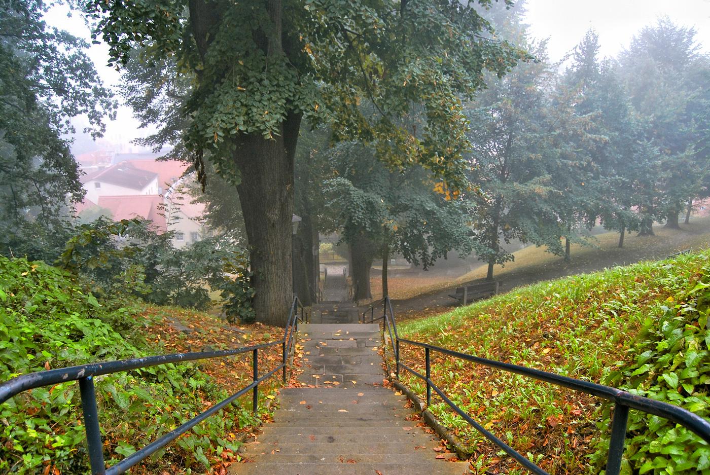 Schlosstreppe im Nebel