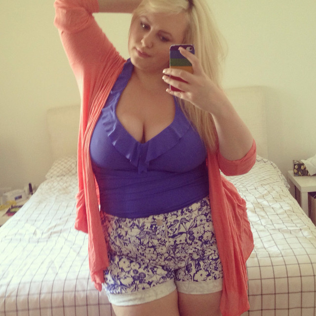Aussie Curves - Swimsuit. Plus size swimwear. Baku blue swimsuit, target shorts & kmart cardigan. Perfect beach or poolside attire!